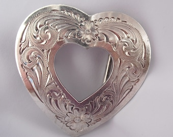 Vintage Heart Buckle Hallmarked Montana Silversmiths, Etched Silverplate Gifts for Her