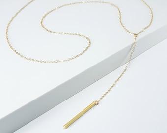 Y Necklace Tiny Bar Drop Necklace Skinny Drop Bar Necklace