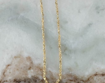 """LAYAWAY for ROSE - 14K Yellow Gold 2.5mm Wide Nugget Bar Link 23.5"""" Chain Necklace - 18.2 grams"""
