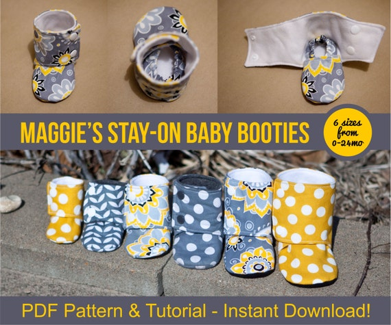 Maggie\'s Stay-On Baby Booties Sewing Tutorial Printable