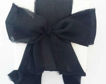"Black Ribbon. 3"" Wide Luxury Ribbon. Hand Torn and Frayed Black Georgette Ribbon Bundle. 3 Meter Lengths. Wedding Bouquet Ribbons. Gift Wrap"