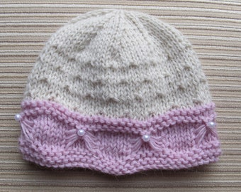 Knitting Pattern #71 Baby Hat with a Butterfly Stitch 6 months, 12-18 months