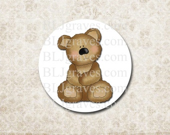 Teddy Bear Stickers Baby Shower Party Favor Treat Bag Sticker SB015
