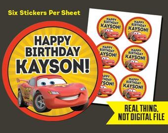 Cars Stickers - Cars Birthday Stickers - Lightning McQueen StickersPrinted