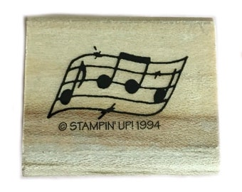 Rubber Wood Stamp Stamping Crafting Stampin Up Music Notes Musical 1994