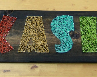 4 Letter Modern String Art Wooden Name Tablet - Made to Order