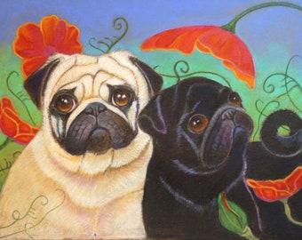 Pug art Black pug fawn pug  painting landscape ORIGINAL Dog Art pugs whimsical Poppies