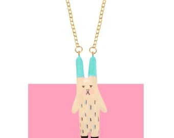 Rabbit Necklece Ceramic BUNNY NECKLACE - Hare Necklce Alice in Wonderland Rabbit Kawaii Necklace Lolita Fashion Hand Made Ceramic Jewelery