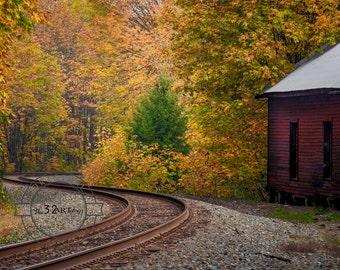 Old Barn, Oregon Travel, Rail Road Tracks, Fall Leaves