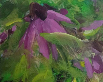 Original oil painting, purple coneflower, echinacea, garden