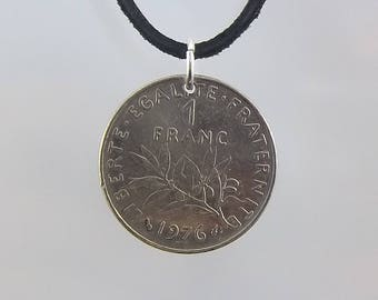 French Coin Necklace, 1 Franc, Coin Pendant, Mens Necklace, Womens Necklace, Leather Cord, 1976, 1977, Vintage