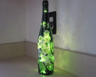 Wine Bottle with white and green flowers, hand painted, great Birthday, Housewarming, Mothers day gift, Bridal shower, Teachers gift,