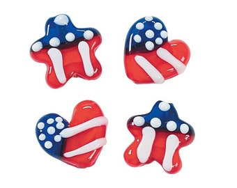 Red White and Blue Heart and Star Lampwork Beads, 15mm - 17mm, pack of 24