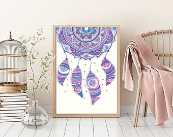 "Original Drawing - Dreamcatcher - 8.5x12"" up to 24x34"" Art Print, Wall Decor, Illustration"