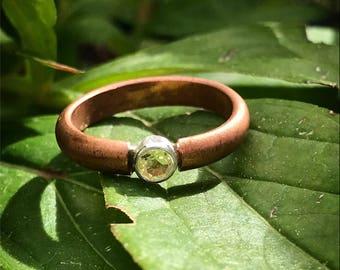 Handmade copper ring with lemon quartz