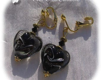 """CLIPS OR CHOOSE GLASS HEART """"KEY TO HEART"""" CRYSTALS EARRINGS"""