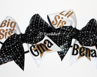 Custom Big Sis Lil' Sis Rhinestone Cheerleading Hairbow Set by Funbows