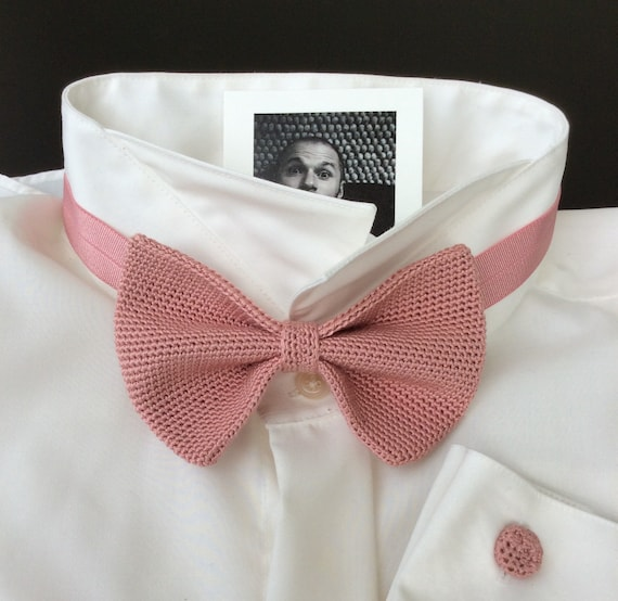 knitted fly, bow tie, wedding fly, 100% silk, briar, rosewood/rosé/pink