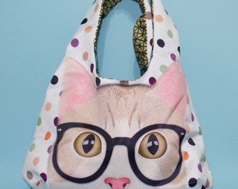 Polka Dot Cat Hobo Bag
