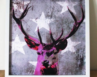 Pink Stag & White Stars / Deer Head / 40x40cm / Poster Print / Art Print