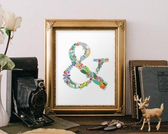 Ampersand Sign, Ampersand Wall Decor, Ampersand Print, And Sign, Home Decor, Wall Art, Ampersand Symbol, Grammar, Floral Ampersand, BD-012