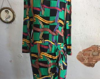 Ann Lawrence Vintage Silk Dress Green Black Checker Board Ribbon Secretary Sz 14