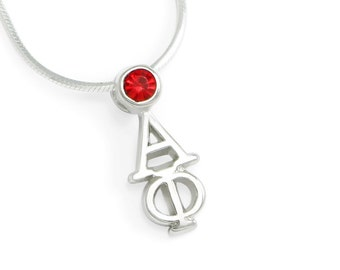 Alpha Phi Sterling Silver Lavaliere with Swarovski Red Crystal// ΑΦ Sorority Jewelry // Sorority Necklace // Greek Pendant // Gifts for Her