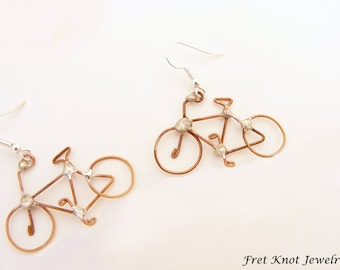 Bicycle Recycled Guitar String Earrings - Unique - Bike