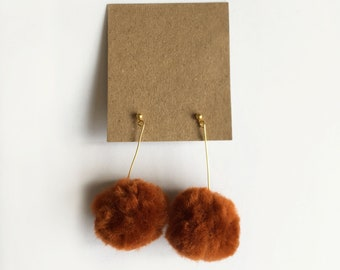 Pom-pom earrings- (Burnt orange)