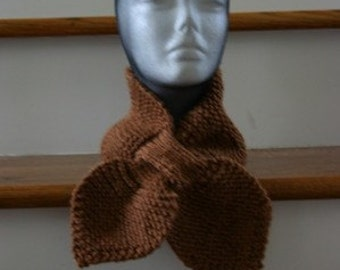 Knitted Lotus Leaf Scarf - Stays put - Amazing Look to Keep  You Warm in Terrific Colors - Toffee