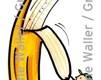 People with Food: banana digital printable clipart