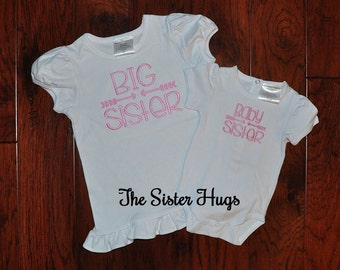 Ready to Ship Size 5T Big Sister Baby Sister Shirt Set - Pink - Baby Gift - Pregnancy Announcement or Gender Reveal