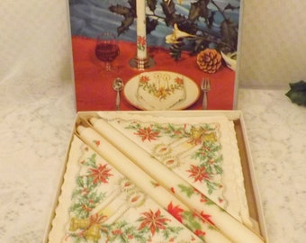 ASP Holmblad Denmark Vintage Christmas Napkin Candle Set Orig Box