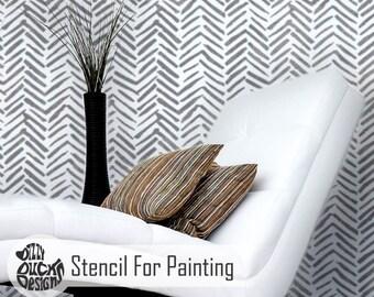 CHEROKE STENCIL - Tribal Herringbone Native American Wall Furniture Craft Stencil for Painting - CHER01