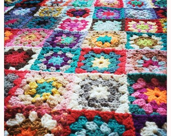 Granny Square Blanket 1.95 x 2.30 meters