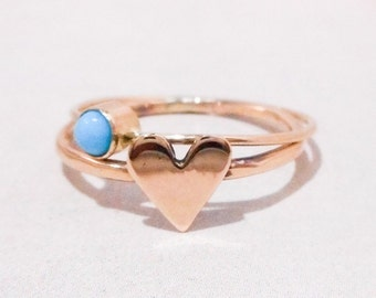 Turquoise and Gold Heart Stacking Ring // Solid 14K Gold and Sleeping Beauty Turquoise