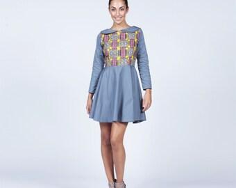 Blue dress, Short dress, Peter Pan Dress, Blue Peter pan dress with Ankara, Peter pan collar dress,