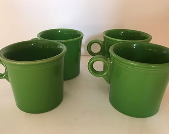 Vintage set of four Fiesta Medium Grass Green Tom & Jerry Mugs- Excellent Condition