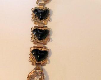 Vintage Black Heart Link Bracelet, Three Heart Bracelet Vintage Heart Bracelet, Black Hearts, Unusual Heart Jewelry, Vintage Hearts