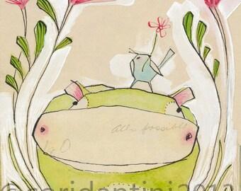 "Cori Dantini Nursery Art Print - ""8 x 10"" Hippo Art Print - Animal Themed Nursery Baby Room Decorating Ideas Archival and Limited edition"