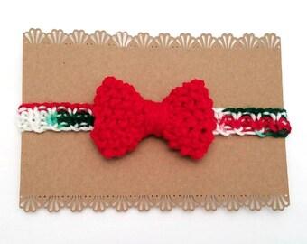 Christmas Newborn Headband - Holiday Newborn Headband - Christmas Baby Headband - Baby's 1st Christmas Headband - Christmas Baby Gift - Bow
