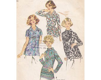 Vintage 1970s Sewing Pattern Set of Blouses Simplicity 5359 Size 16 Bust 38 Side Slits/Tie Belt/Bias Roll Collar/Long or Short Sleeves