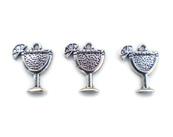 10 Party Charms - Margarita Charms - Daiquiri Charms - Wine Glass Charms - Margarita Glass Charm - Margarita Pendant - Holiday Charm - SC897