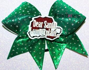 Dear Santa, I Can Explain ... Rhinestone Cheer bow 3-D cutout by FunBows !