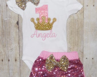 Princess crown birthday outfit. Pink and gold birthday oufit. 1st, 2nd 3rd birthday outfit, Pink and Gold smash cake outfit, Princess outfit