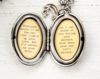 Encouragement - Shine on during your darkest hour - Quote Locket, Locket with Quote, Best Friend Gift, I will be there