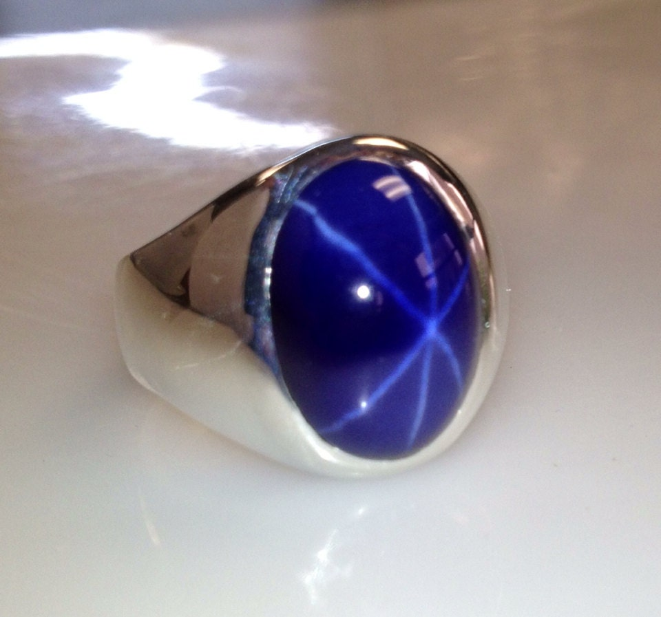 Mens Custom Heavy Sterling Silver Oval Blue Star Sapphire Ring