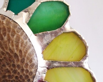 SALE - Stained Glass Pendant with Fossil Centerpiece - The Secret Lake