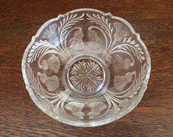 ANTIQUE PRESSED GLASS Scotish Thistle Bowl
