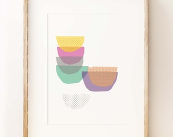 Stacked Bowls kitchen wall art print. Fun graphic art print. Kitchen gifts. UK art